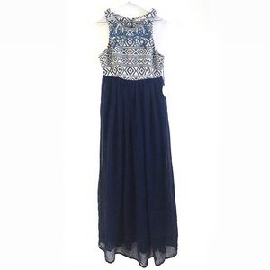 Tularosa Blue Beaded Aztec Maxi Dress Size Medium